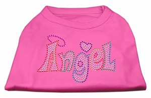 Technicolor Angel Rhinestone Pet Shirt Bright Pink Med (12)